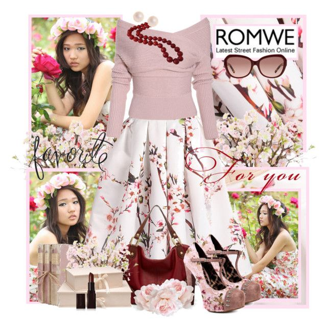 """""""romwe cherry skirt contest"""" by vicky-soleil ❤ liked on Polyvore featuring Lux-Art Silks, Ella Moss, Betsey Johnson, Nina Campbell, Heidi Swapp, Tory Burch and Laura Mercier"""