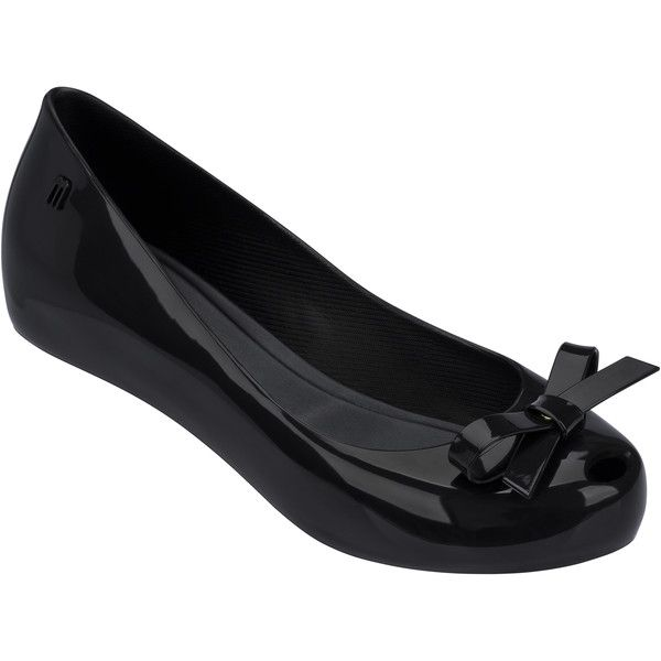 Melissa Ultragirl Perfect Black Bow ($89) ❤ liked on Polyvore featuring shoes, flats, flat shoes, black flat shoes, flat heel shoes, bow flats and hidden wedge shoes