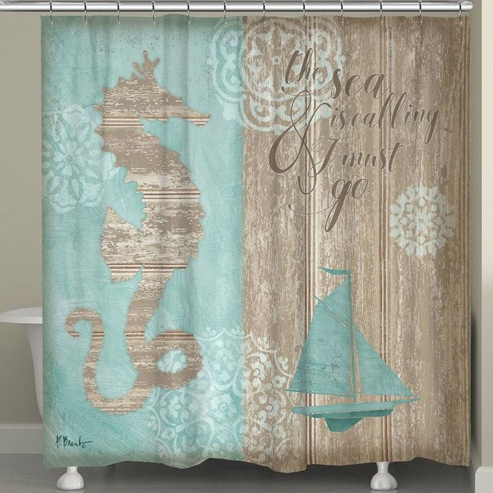 Beach Shower Curtain The Sea Is Calling Shower Curtain With