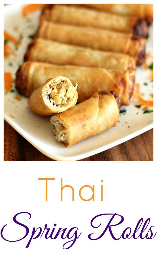 Thai Spring Rolls with a delicious dipping sauce! These are easier than one might think, to make. Plus, talk about one tasty appetizer for game day! inspiredgathering ad