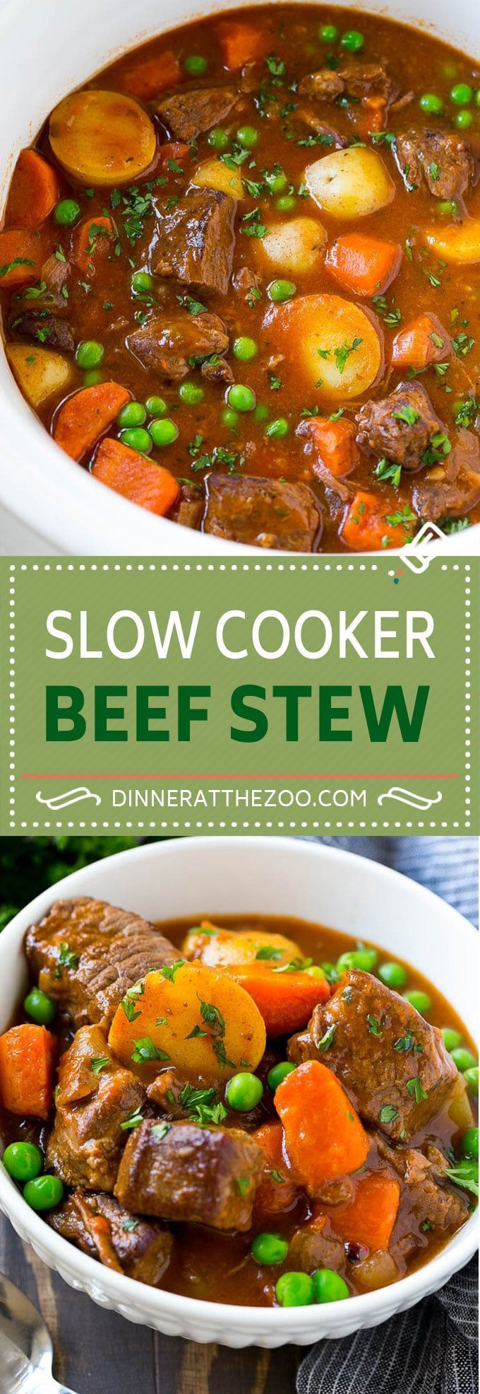Slow Cooker Beef Stew Recipe ~ loaded with chunks of tender beef, potatoes, carrots and peas...hearty and comforting!