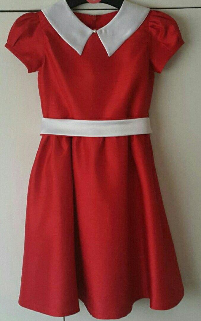 Girls Annie style dress. Made from Burda kids 9545. Silk and satin.