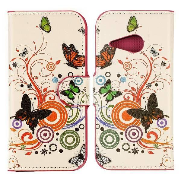 Kleurrijke vlinders booktype hoes voor HTC One Mini 2