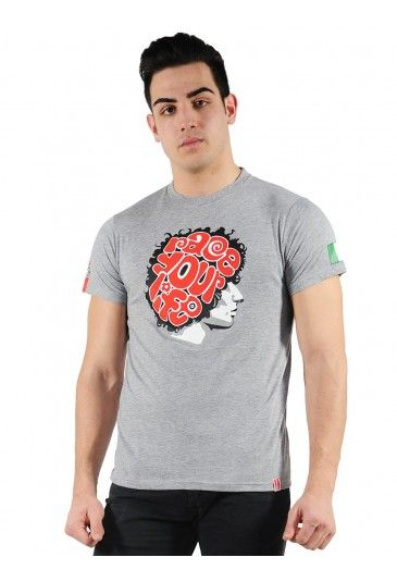"Men's T-shirt in honour of the Italian rider Marco Simoncelli. Grey cotton T-shirt with the Race Your Life logo in large print on the chest. The race number 58 and 58sic logo are printed on the back and sleeves. // Maglietta da uomo di Marco Simoncelli ""race your life"" #sic58 #supersic"