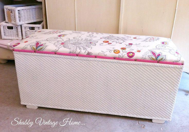 Vintage Blanket Ottoman Painted Antique White Storage Box Shabby Chic by MyVintageGirls on Etsy