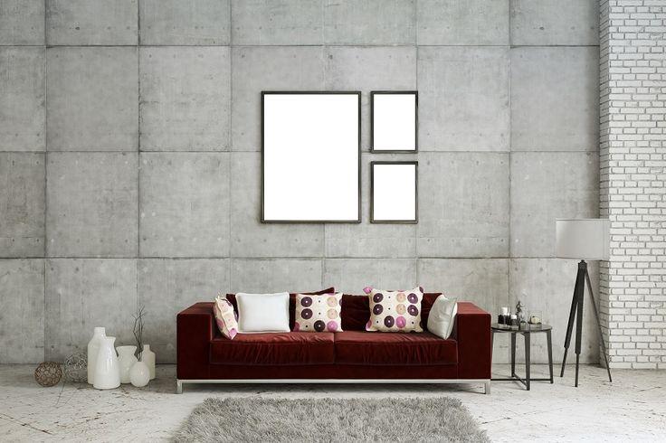 Sala cinza com sofá vermelho
