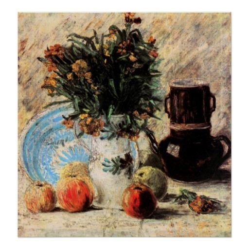 Vaso de Van Gogh com flores, Coffeepot e fruta Pôsteres