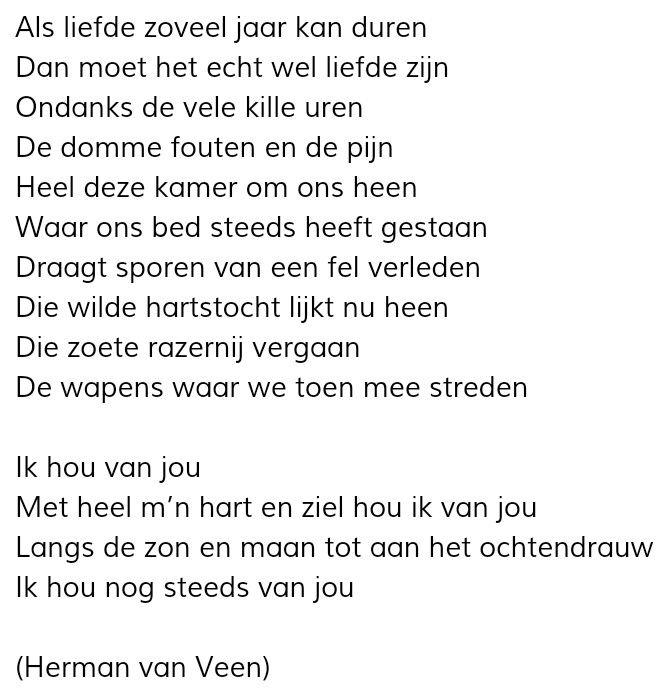Ik Hou Van Jou Herman Van Veen Woorden Gedichten Teksten