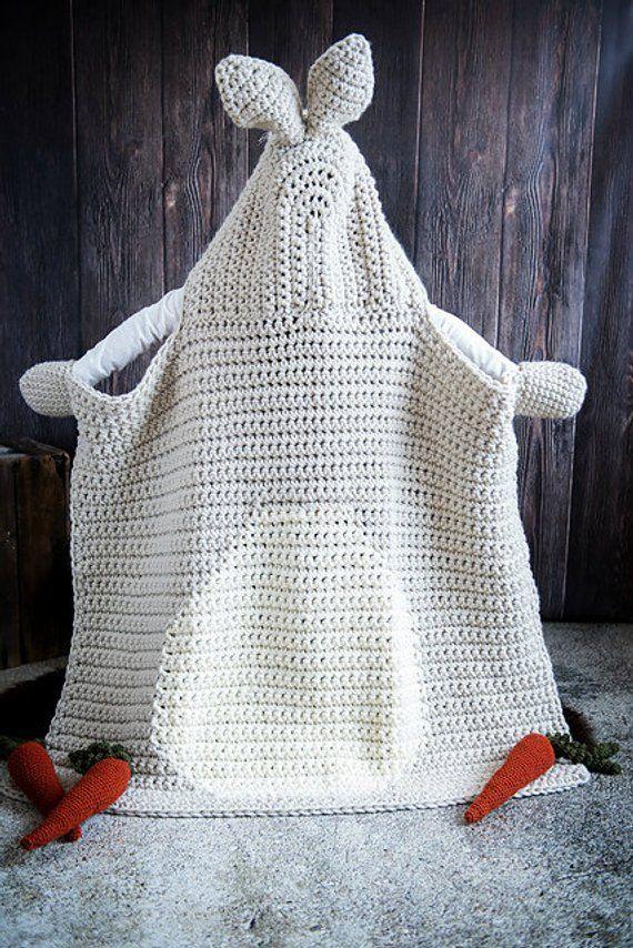 Woodland Bunny Blanket Crochet Pattern - Hooded Woodland Rabbit ...
