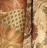 Elegant Champagne Victorian Artichoke Floral Heavy Satin Brocade Upholstery Drapery Fabric