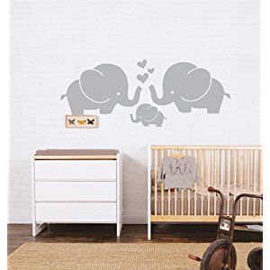 Cute Elephant Family With Hearts Wall Decals Baby Nursery Decor Kids Room Wall Stickers, 30''W x11.8''H, Grey