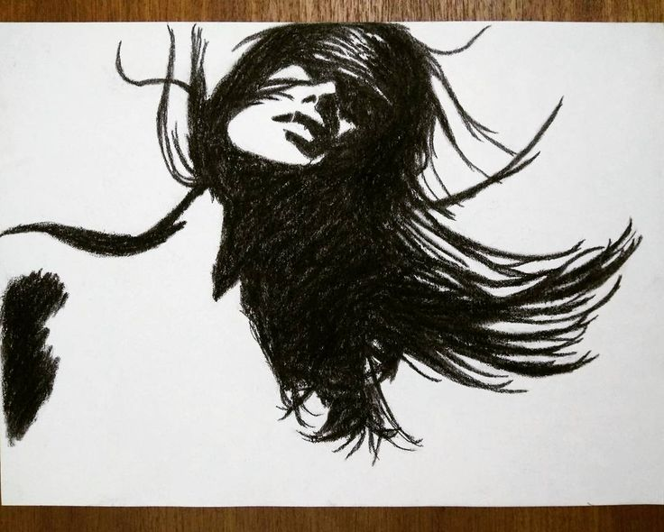 'Windswept' - charcoal on paper. . . #charcoal #artoftheday #sketch #drawing #charcoalart #girl #wind #hair