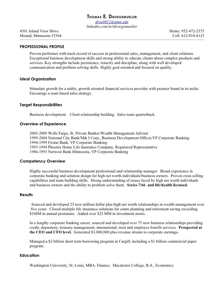 Private Wealth Manager Resume - Vision specialist