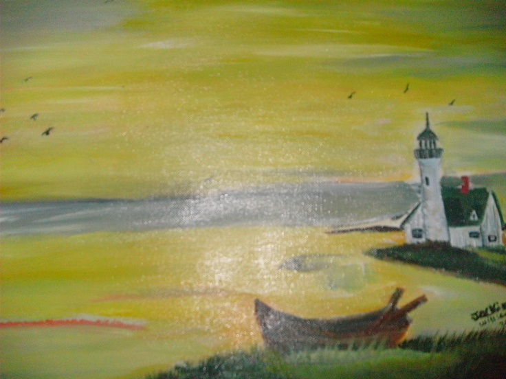 oil painting lighthouse by jackie williams