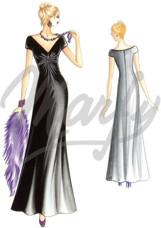 Marfy 2945 - Evening Gown - This long evening gown has a draped bodice and the skirt is full at the bottom. Suggested fabric: velvet cut on the grain.