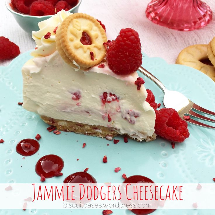Raspberry ripple cheesecake with a Jammie dodger base