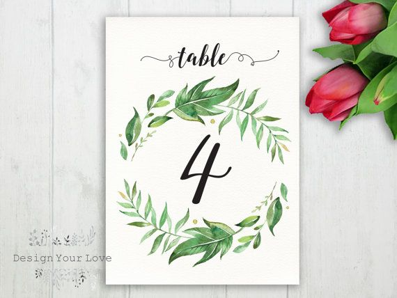 wedding table numbers printable greenery table by DesignYourLove