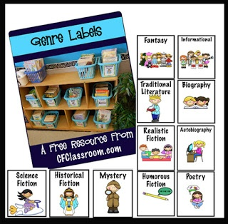 Clutter-Free Classroom: FREE GENRE LABELS for your classroom library.  I use these and the kids love the graphics.
