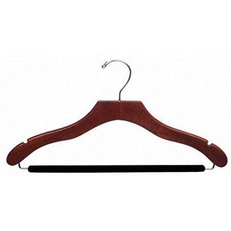International Hanger Wooden Wavy Suit Hanger w/Velvet Bar, Walnut Finish with Chrome Hardware, Box of 25