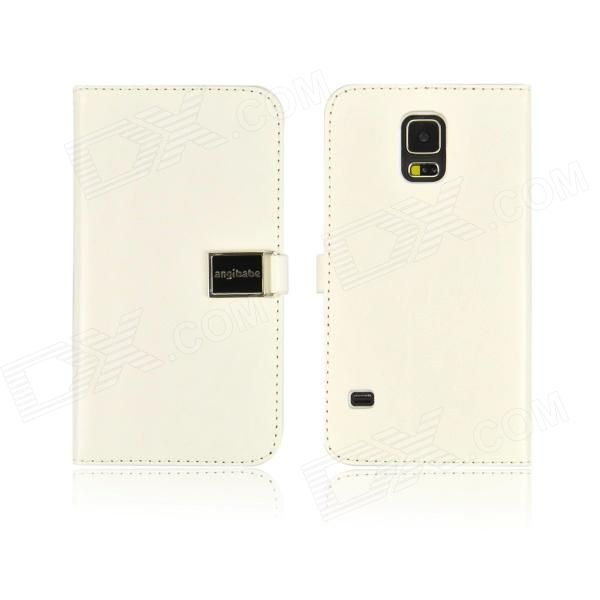 Angibabe PU Leather Case with Card Slots for Samsung Galaxy S5 - White