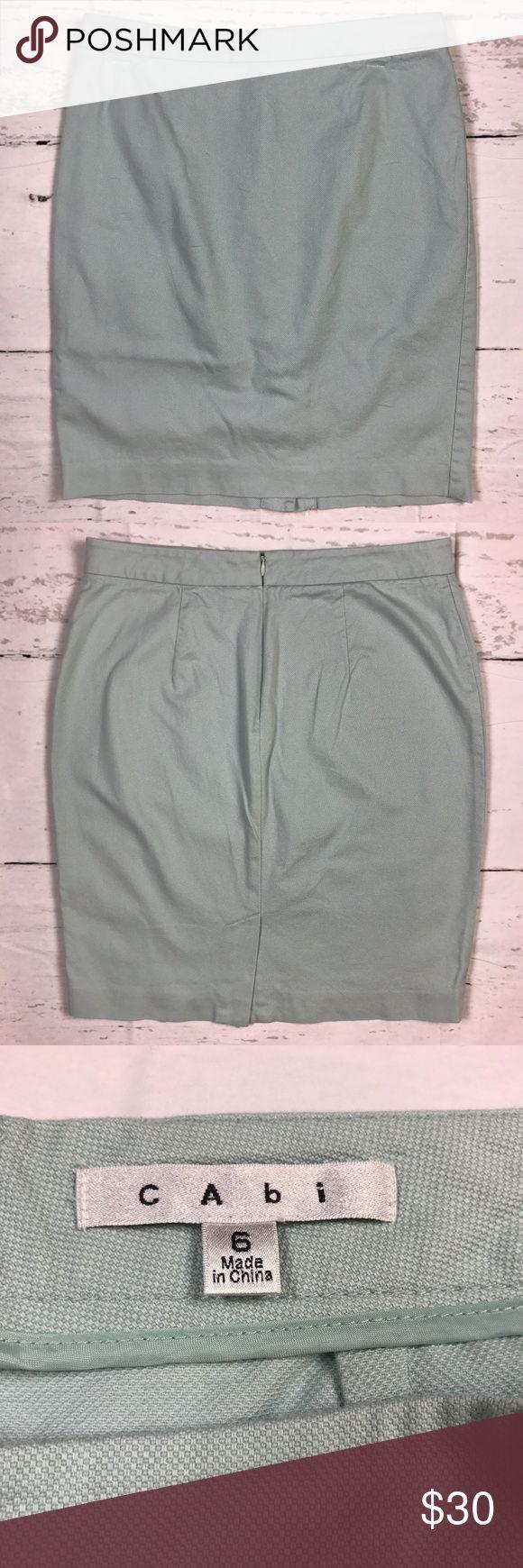 "CAbi Skirt Jordan Almond Pale Mint Green Pencil 6 Brand: CAbi Color: Almond Pale Mint Green Size: 6 on the tag label Material: Cotton Blend  Measurements Waist: 16"" x2 = 32"" Length: 21 1/4"" CAbi Skirts Pencil"