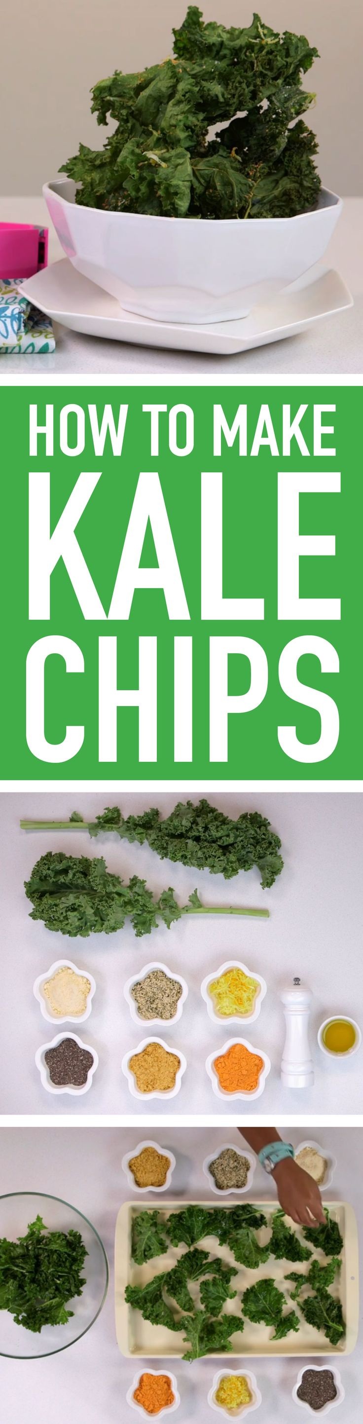 Get your kids to eat their greens by making these simple kale chips! Choose from an array of toppings to create a gourmet treat that's totally your own.