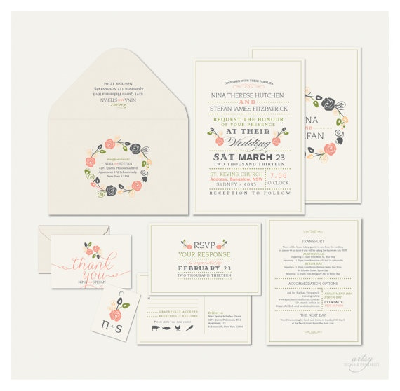 VINTAGE RUSTIC WEDDING Invitations - Monogram Floral Wreath -  Printable Designs. via Etsy.