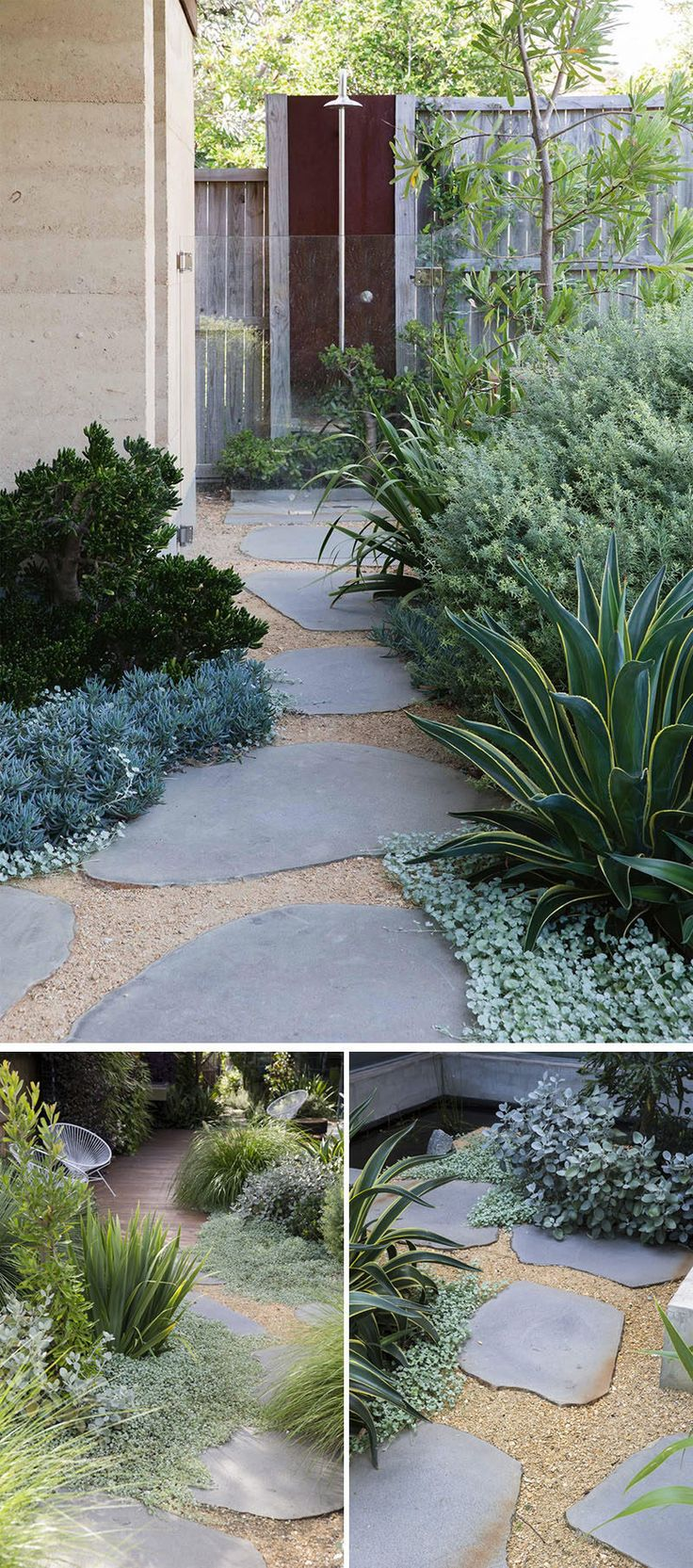 10 Ideas for Stepping Stones in Your Garden // These large stones allow you get from one part of the yard to the outdoor shower without getting gravel stuck in between your toes, and without harming the plants.