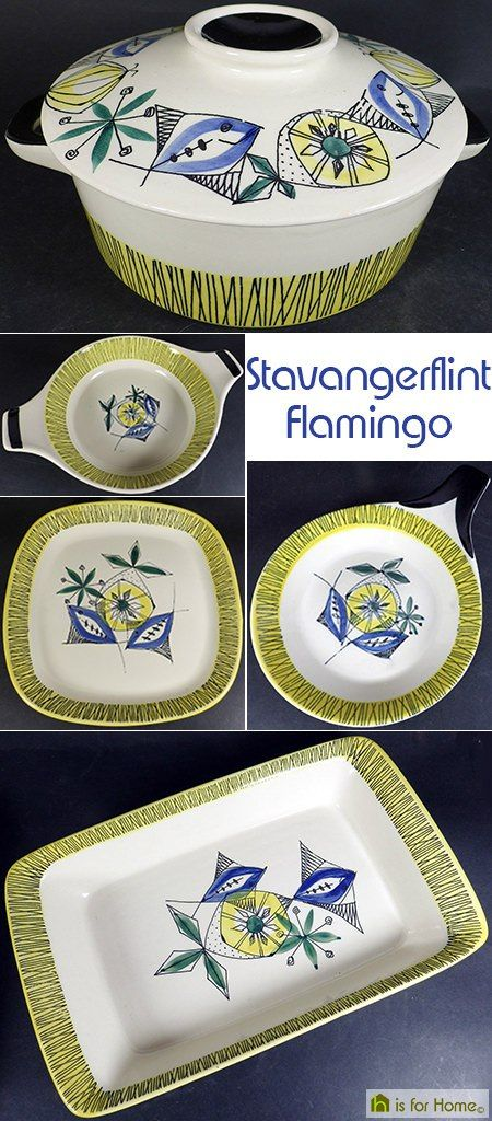 Set of vintage Stavangerflint Flamingo pottery dishes