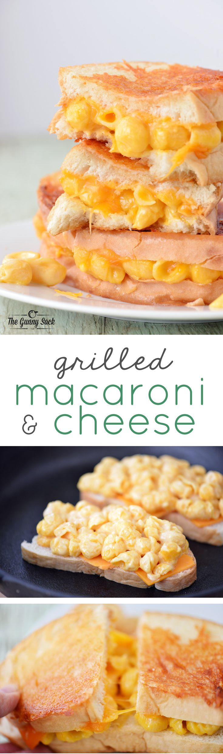 A Grilled Macaroni and Cheese Sandwich is the ultimate comfort food with triple the cheese! Try this recipe for dinner served with tomato soup.