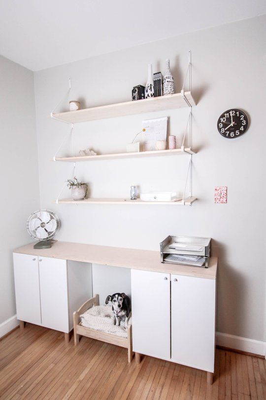 """Workspace - floating shelves. From: How To Make an IKEA Hack """"Fauxdenza"""" — Apartment Therapy Tutorials"""