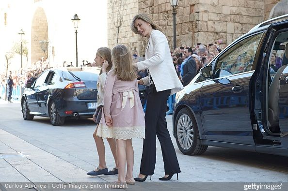 Spanish Royals, Queen Letizia of Spain and King Felipe of Spain, Queen Sofia of Spain, Princess Leonor of Spain and Princess Sofia of Spain attended the Easter Mass at the Cathedral of Palma de Mallorca on April 5, 2015 in Palma de Mallorca, Spain.