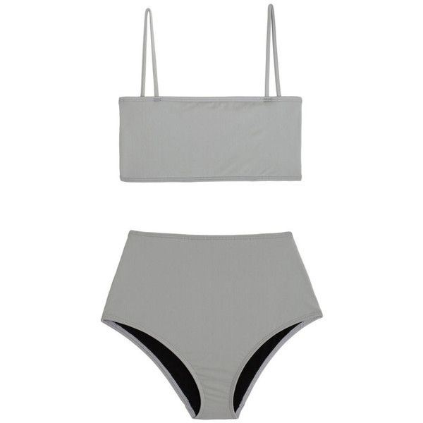 Nu Swim Grey Straight Top Bikini (570 ILS) ❤ liked on Polyvore featuring swimwear, bikinis, bandeau swimwear, bikini swim wear, bandeau bikini, swimming bikini and swim wear