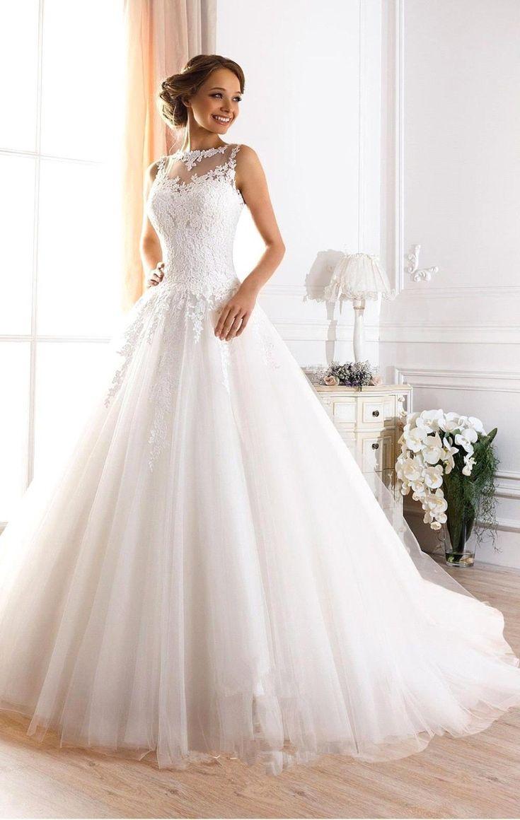 Vestido De Novia Vintage 2016 Custom Made White/Ivory Tulle Appliques Lace A-Line Wedding Dress Bridal Gowns