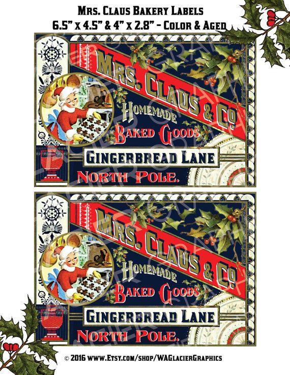 Christmas Printable Vintage Christmas Bakery Labels