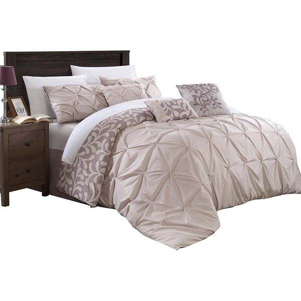 chic trina trenton pintuck reversible 7 piece comforter set queen plum 110 liked