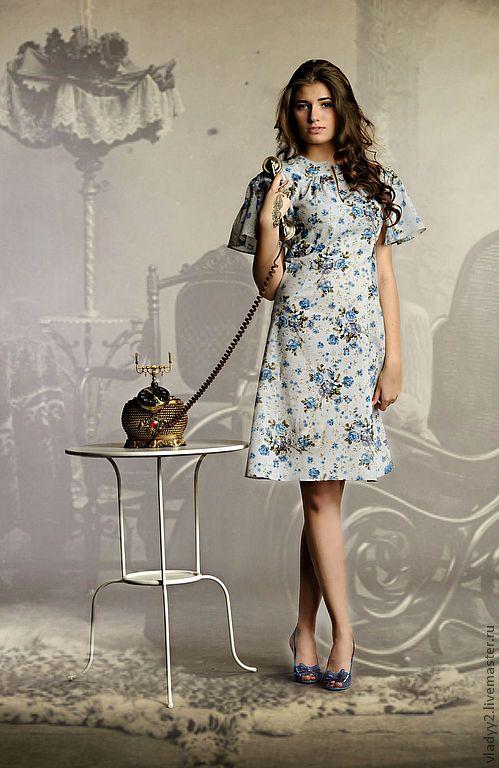 Купить платье ретро мода-3 - голубой, цветочный, ретро стиль, деловой стиль
