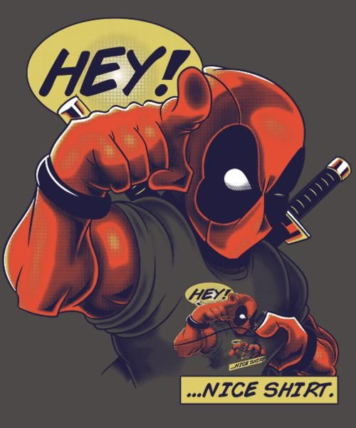 """""""Nice Shirt"""" is today's £8/€10/$12 tee for 24 hours only on www.Qwertee.com Pin this for a chance to win a FREE TEE this weekend. Follow us on pinterest.com/qwertee for a second! Thanks:)"""
