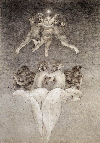 Philipp Otto Runge, Lily of Light and Morning Star, 1808, Pencil, black, red and white chalk on brownish paper, 570 x 409 mm, Wallraf-Richartz-Museum, Cologne