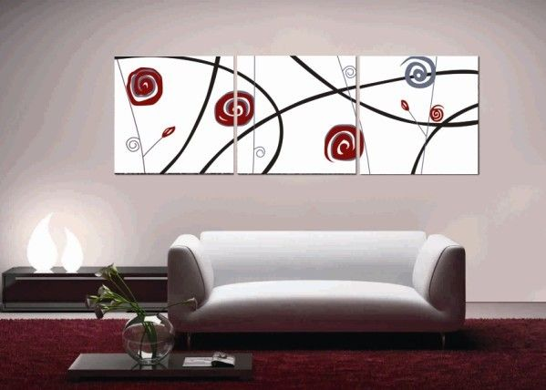 Abstract Printed Canvas Art with Stretched Frame - set of 3 - Wall Art Ideas