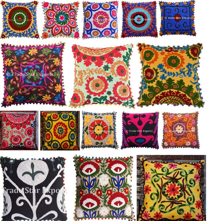 "Vintage Suzani Cushion Cover Boho Embroidered Pillowcase Square 16""Cotton Pillow #Handmade #ArtDeco"