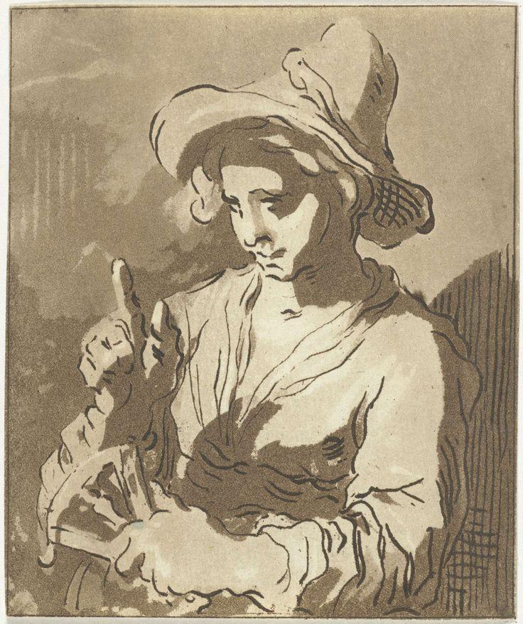 Anthonie van den Bos   Jonge vrouw met waaier, Anthonie van den Bos, Abraham Bloemaert, 1778 - 1838   Een jonge vrouw met een grote hoed en een waaier in haar hand. Met haar rechter wijsvinger maakt ze een spreekgebaar.