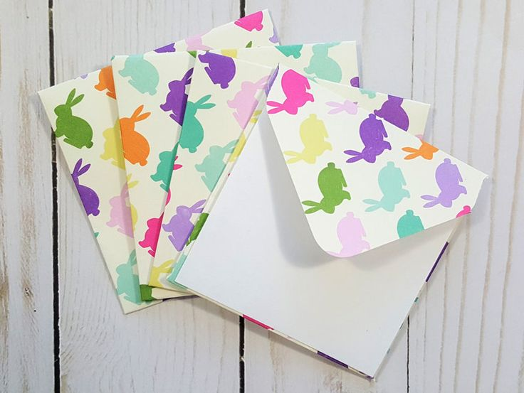 Easter Mini Envelopes, Easter Bunny Cards, Blank Easter Cards, Bunny Cards, Easter Basket Cards, Enclosure Cards, Set of 4 by TiddleywinksDesigns on Etsy