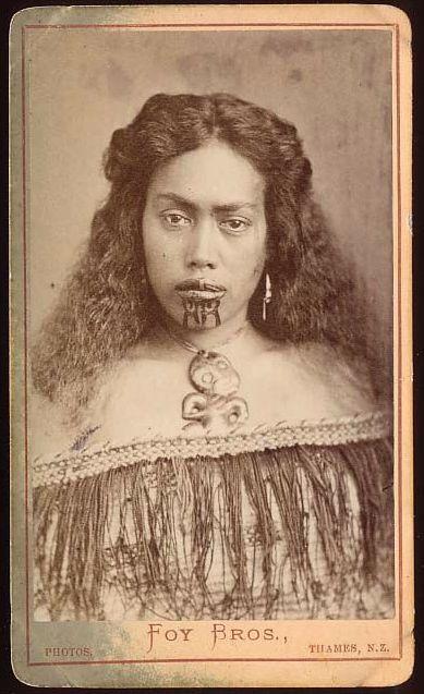 Foy Brothers  Young Maori Woman Showing Ta Moko, Facial Tattoo   c.1875