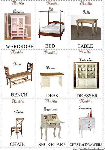petites cartes d'anglais meubles by Le bonheur en famille, via Flickr