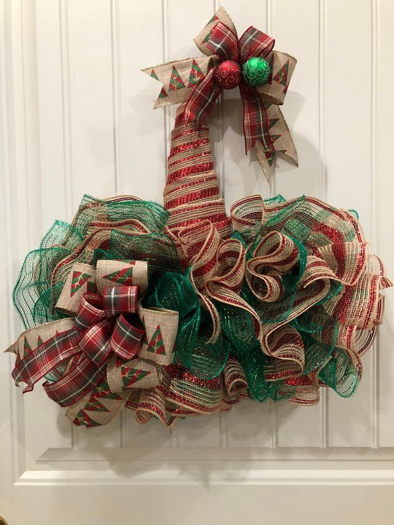 Terrific Rustic Burlap Christmas Wreath Primitive Santa Hat Front Pdpeps Interior Chair Design Pdpepsorg