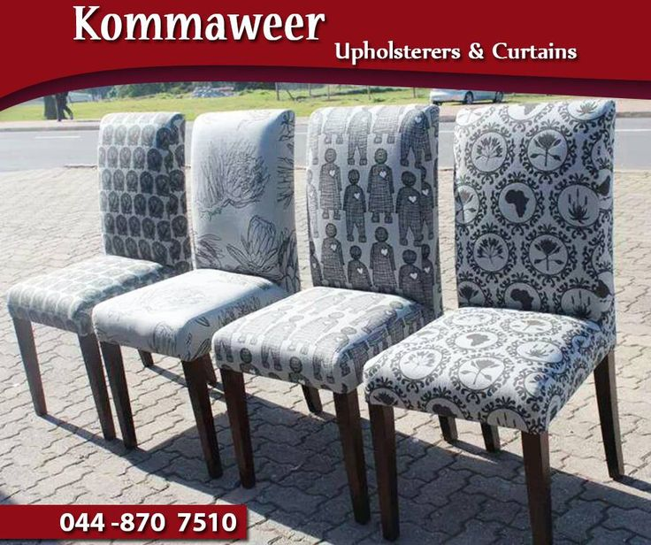 Re-upholstering furniture is what we are passionate about at #KommaweerUpholsterers. Another successful project done - dining chairs recovered by Kommaweer in Cotton Prints. Contact us on 044 870 7510 for assistance. #upholstery