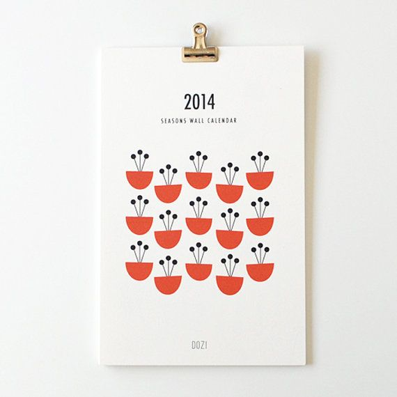 2014 wall calendar  seasons by dozi on Etsy, $22.00  ***Numbers instead of month names? Robot dressed to the season? Objects of the season/month in picture?