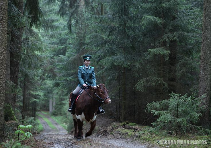 Kontrolle im bayerischen Regenwald / Inspection walkway in the bavarian rain forest 180414-9564 Julia & Perle (Bayerischer Wald, Germany), 2014, photo…