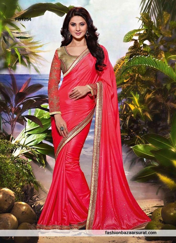 Pink N Crepe Zari Work Designer Sarees